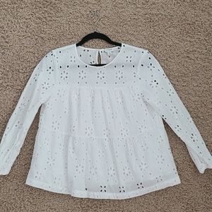 J. Crew Factory eyelet tiered pop over white top s